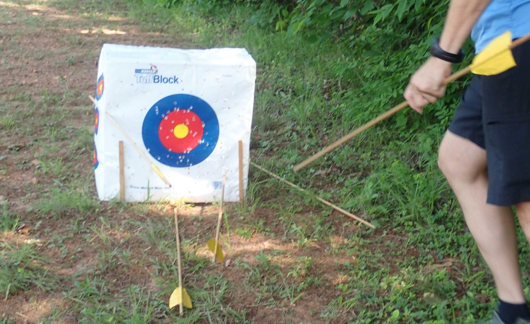 Bulls-eye target with spears being collected at Holliday Lake State Park