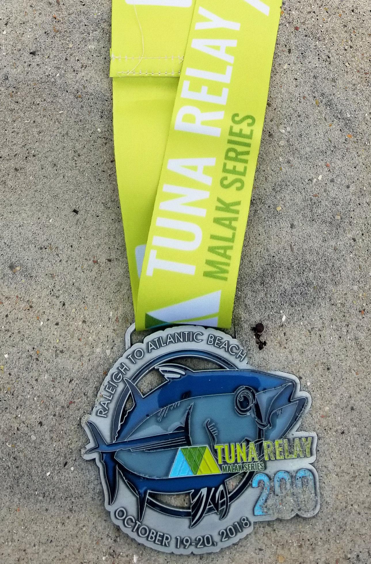 medal - blue tuna - tuna 200 on a malak series ribbon
