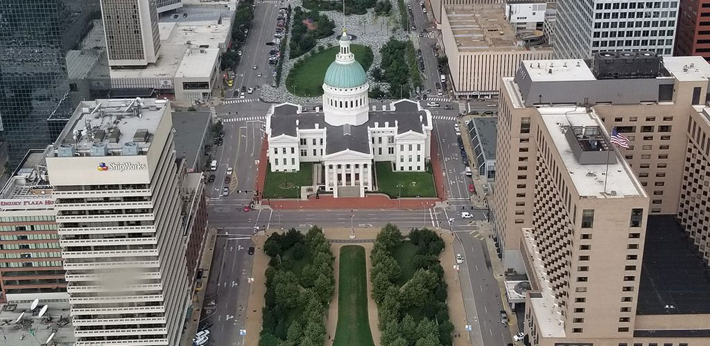 West view from top of St Louis Arch - old courthouse and downtown